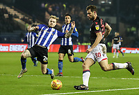 Bolton Wanderers' Yanic Wildschut competing with Sheffield Wednesday's Ashley Baker <br /> <br /> Photographer Andrew Kearns/CameraSport<br /> <br /> The EFL Sky Bet Championship - Sheffield Wednesday v Bolton Wanderers - Tuesday 27th November 2018 - Hillsborough - Sheffield<br /> <br /> World Copyright © 2018 CameraSport. All rights reserved. 43 Linden Ave. Countesthorpe. Leicester. England. LE8 5PG - Tel: +44 (0) 116 277 4147 - admin@camerasport.com - www.camerasport.com