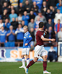 Ian Black gestures to Steven Naismith and the Rangers fans as he is hooked by Paulo Sergio