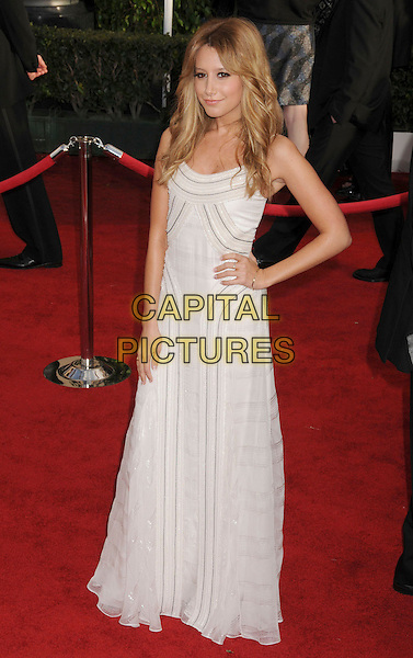 ASHLEY TISDALE.14th Annual Screen Actors Guild Awards held at the Shrine Auditorium, Los Angeles, California, USA..January 27th, 2008.SAG red carpet arrivals full length white cream dress hand on hip.CAP/ADM/BP.©Byron Purvis/AdMedia/Capital Pictures. *** Local Caption *** .