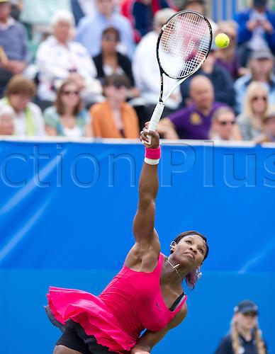 15.06.2011 Eastbourne, England Serena Williams of United State of America in action vs Vera Zvonareva of Russia during ladies 2011 Aegon Tennis  International Tournament at Eastbourne...
