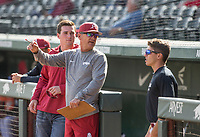 Hawgs Illustrated/BEN GOFF <br /> Gray team takes on Cardinal team Wednesday, Oct. 11, 2017, during the Arkansas baseball Fall World Series scrimmage at Baum Stadium in Fayetteville.