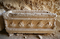 Sarcophagus carved with medallion bust portraits, Valley of Tombs, late 3rd century AD, Palmyra, Syria Picture by Manuel Cohen
