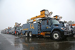 Utility Trucks from Hydro Quebec line up at the JCP&L Staging Site at Great Adventure in Jackson, NJ