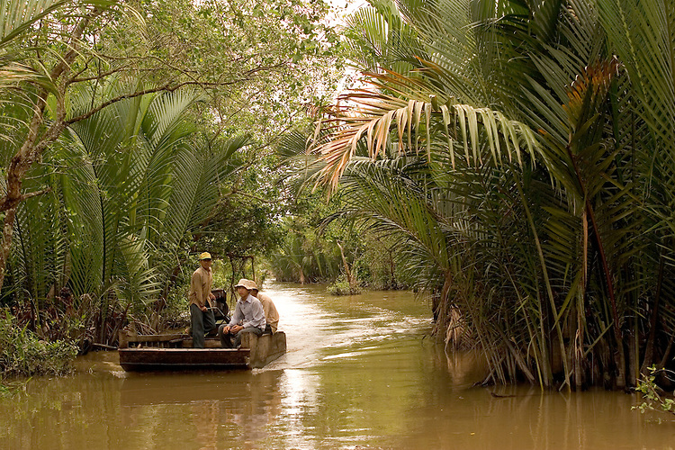Tropical water channels abound the Mekong Delta of southern Vietnam.