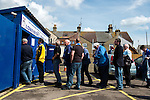 Lowestoft Town 2 AFC Barrow 3, 25/04/2015. Crown Meadow, Conference North. Barrow make the six-hour trip to Suffolk needing a win to secure the title. Barrow and Lowestoft supporters make their way into the stadium. Photo by Simon Gill.