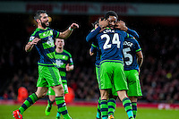Wayne Routledge of Swansea City  Celebrates his goal with team mates during the Barclays Premier League match between Arsenal and Swansea City at the Emirates Stadium, London, UK, Wednesday 02 March 2016