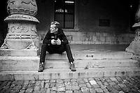 Allesandro De Marchi (ITA/BMC) waiting for the pre-race team presentation (the day before the race)<br /> <br /> 102nd Li&egrave;ge-Bastogne-Li&egrave;ge 2016
