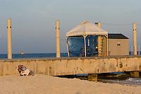 02.2012 Playa del Carmen (Mexico)<br /> <br /> Couple au coucher de soleil sur la plage.<br /> <br /> Couple at sunset on the beach.