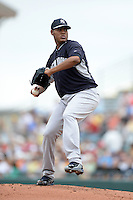 Pitcher Ivan Nova (47) of the New York Yankees during a spring training game against the Pittsburgh Pirates on February 26, 2014 at McKechnie Field in Bradenton, Florida.  Pittsburgh defeated New York 6-5.  (Mike Janes/Four Seam Images)