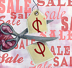 Conceptual illustration of hand cutting price tag depicting reduction in sale