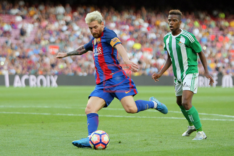 League Santander 2016/2017. Game: 1.<br /> FC Barcelona vs Real Betis: 6-2.<br /> Lionel Messi vs Musonda.