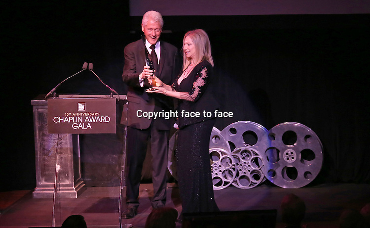 Bill Clinton & Barbra Streisand during the Presentation for the 40th Annual Chaplin Award Gala Honoring Barbra Streisand at Avery Fisher Hall in New York City on 4/22/2013....Credit: McBride/face to face