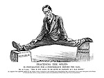"Practising the splits in preparation for a performance before the Dail. Mr. de Valera. ""This is not going to be quite so painless as I'd hoped."" [In support of the opposition offered by the Variety Artists' Federation to the Children and Young Persons Bill a performance was to have been given in the House of Commons last week by young acrobats to prove the painlessness of their feats; but it was not permitted.]"