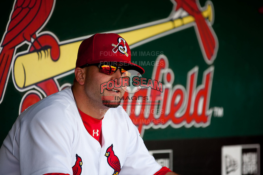 Nick Derba (31) of the Springfield Cardinals sits in the dugout during a game against the Midland RockHounds on April 18, 2011 at Hammons Field in Springfield, Missouri.  Photo By David Welker/Four Seam Images