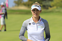 Nelly Korda (USA) on the 5th green during Thursday's Round 1 of The Evian Championship 2018, held at the Evian Resort Golf Club, Evian-les-Bains, France. 13th September 2018.<br /> Picture: Eoin Clarke | Golffile<br /> <br /> <br /> All photos usage must carry mandatory copyright credit (&copy; Golffile | Eoin Clarke)