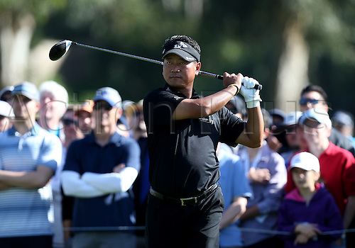 20.02.2016. Pacific Palisades, California, USA.  K.J. Choi  hits a tee shot during the third round of the Northern Trust Open at Riviera Country Club in Pacific Palisades, CA.