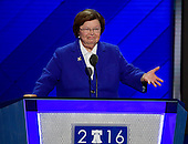 United States Senator Barbara Mikulski (Democrat of Maryland) places former US Secretary of State Hillary Clinton's name into nomination for President of the United States during the second session of the 2016 Democratic National Convention at the Wells Fargo Center in Philadelphia, Pennsylvania on Tuesday, July 26, 2016.<br /> Credit: Ron Sachs / CNP<br /> (RESTRICTION: NO New York or New Jersey Newspapers or newspapers within a 75 mile radius of New York City)