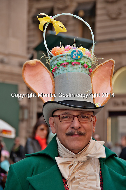 Man wearing a vintage suit and hat with bunny ears and an Easter Basket on top, in the Easter Parade on Fifth Avenue in New York City