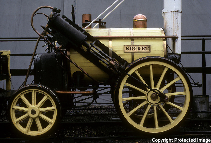 "Industrial Revolution:  ""Rocket"" Locomotive, replica.  National Railway Museum, York.  Photo '90."