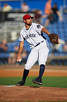Binghamton Rumble Ponies starting pitcher Mickey Jannis (7) delivers a pitch during a game against the Erie SeaWolves on May 14, 2018 at NYSEG Stadium in Binghamton, New York.  Binghamton defeated Erie 6-5.  (Mike Janes/Four Seam Images)