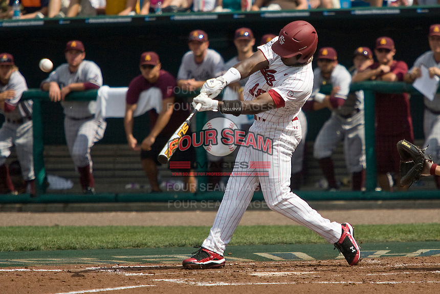 South Carolina's Jackie Bradley Jr. connects for a home run in Game 7 of the NCAA Division One Men's College World Series on Monday June 22nd, 2010 at Johnny Rosenblatt Stadium in Omaha, Nebraska.  (Photo by Andrew Woolley / Four Seam Images)