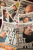 A collection of several days of New York City newspaper covers seen on Tuesday, June 25, 2013 report on the death of Sopranos star James Gandolfini of a heart attack while in Italy. (© Richard B. Levine)