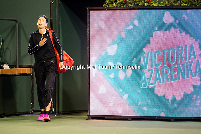 March 8, 2019: Victoria Azarenka (BLR) walks onto the court where she was defeated by Serena Williams (USA)  7-5, 6-3 at the BNP Paribas Open at the Indian Wells Tennis Garden in Indian Wells, California. ©Mal Taam/TennisClix/CSM