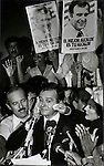 Celebrating on election night, Miami Mayor Maurice Ferre wipes his brow after a tight race, November 15, 1983.