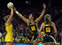 17.10.2012 Australia's Susan Pratley and South Africa's Adele Niemand in action during the Australia v South Africa netball test match as part of the Quad Series played in Newcastle Australia. Mandatory Photo Credit ©Michael Bradley.