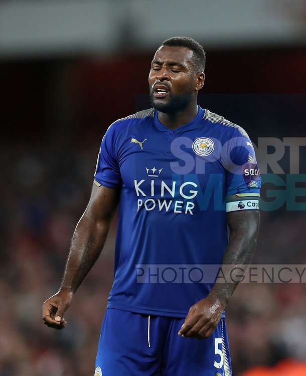 Leicester's Wes Morgan looks on dejected after Arsenal's fourth goal during the premier league match at the Emirates Stadium, London. Picture date 11th August 2017. Picture credit should read: David Klein/Sportimage
