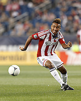 Chivas USA forward Juan Agudelo (11) chases down a pass. In a Major League Soccer (MLS) match, the New England Revolution tied Chivas USA, 3-3, at Gillette Stadium on August 29, 2012.