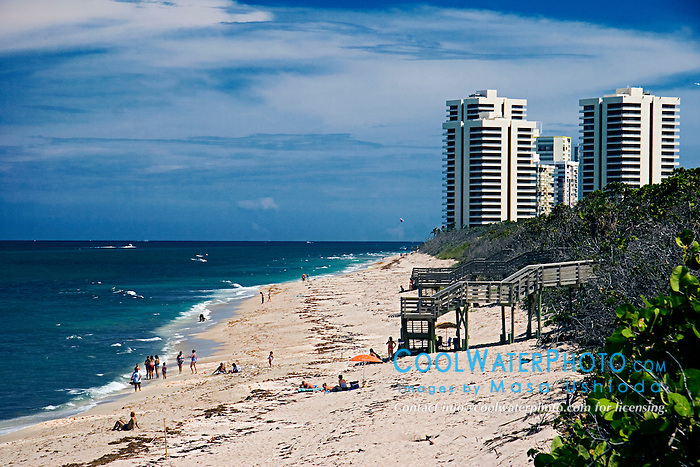 John D. MacArthur Beach State Park, high-rise condominiums and hotels on Singer Island in distance, North Palm Beach, Florida, Atlantic Ocean
