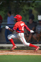 Philadelphia Phillies Roman Quinn (4) during an instructional league game against the Toronto Blue Jays on October 3, 2015 at the Carpenter Complex in Clearwater, Florida.  (Mike Janes/Four Seam Images)