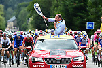 Race Director Christian Prudhomme waves the flag to start Stage 13 of the 2018 Tour de France running 169.5km from Bourg d'Oisans to Valence, France. 20th July 2018. <br /> Picture: ASO/Alex Broadway | Cyclefile<br /> All photos usage must carry mandatory copyright credit (&copy; Cyclefile | ASO/Alex Broadway)