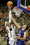 Spain's Felipe Reyes (r) and USA's Carmelo Anthony during friendly match.July 24,2012. (ALTERPHOTOS/Acero)