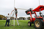 Kings College number one field rugby post installation ahead of a possible return to competitive school sport. Kings College, Auckland, 14 May 2020. Photo: Simon Watts/www.bwmedia.co.nz