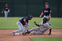Cleveland Indians shortstop Miguel Eladio (7) applies the tag to Frandy Le La Rosa on a stolen base attempt during a Minor League Spring Training game against the San Francisco Giants at the San Francisco Giants Training Complex on March 14, 2018 in Scottsdale, Arizona. (Zachary Lucy/Four Seam Images)