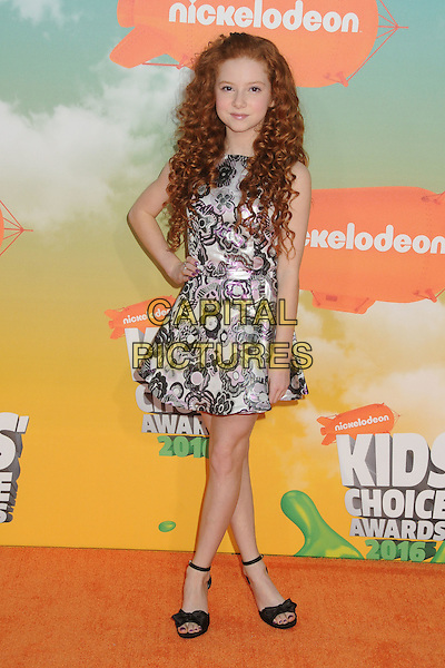 12 March 2016 - Inglewood, California - Francesca Capaldi. 2016 Nickelodeon Kids' Choice Awards held at The Forum.  <br /> CAP/ADM/BP<br /> &copy;BP/ADM/Capital Pictures