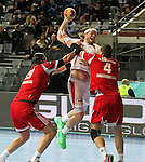12.01.2013 Barcelona, Spain. IHF men's world championship, Quarter-Final. Picture show Mikkel Hansen    in action during game between Denmark vs Hungary at Palau ST Jordi