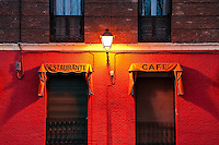 Street lamp and restaurant, Madrid, Spain