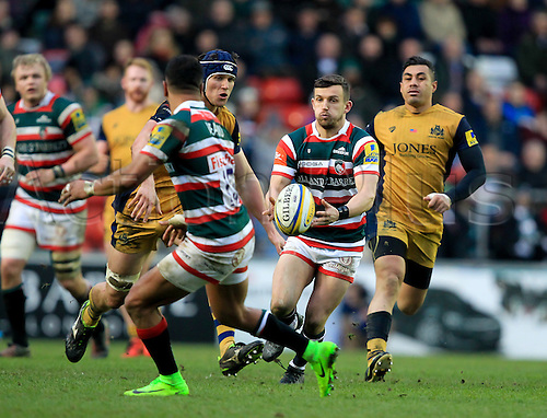 February 18th 2017,  Leicester, England; Aviva Premiership Rugby, Leicester versus Bristol;  Jono Kitto passes the ball out of defence