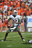 01 November 2008:  Miami QB Jacory Harris (12) throws..The Miami Hurricanes defeated the Virginia Cavaliers 24-17 in OT at Scott Stadium in Charlottesville, VA..