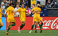 Seattle, WA - Thursday July 27, 2017: Tameka Butt scores a goal and celebrates during a 2017 Tournament of Nations match between the women's national teams of the United States (USA) and Australia (AUS) at CenturyLink Field.