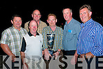 CHECK IT OUT: The Irish Greyhound Derby Cup, which was won by College Causeway and owned by Mike McCarthy, Abbeydorney, is admired by Timmy Weir, Sean Flaherty, Pat McMahon, Mike McKenna (holding the cup), Pat Lyons & Denis McElligott in McCarthy's Bar, Finuge, on September 19th.
