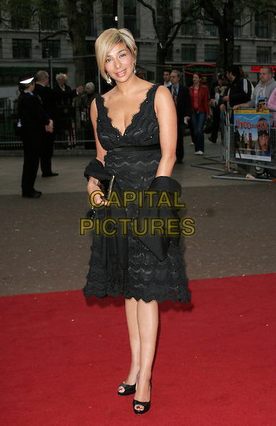 """SHOBNA GULATI.World Premiere of """"Three and Out"""" at the Odeon Leicester Square, London, England..April 21st 2008 .3 full length black dress pashmina wrap lace skirt .CAP/AH.©Adam Houghton/Capital Pictures."""