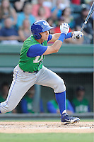 Second baseman Kenny Diekroeger (2) of the Lexington Legends bats in a game against the Greenville Drive on Friday, August 29, 2014, at Fluor Field at the West End in Greenville, South Carolina. Greenville won, 6-1. (Tom Priddy/Four Seam Images)