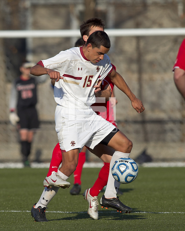 Boston College forward/midfielder Diego Medina-Mendez (15) attempts to control the ball. Rutgers University defeated Boston College in penalty kicks after two overtime periods in NCAA Division I tournament action, at Newton Campus Field, November 20, 2011.
