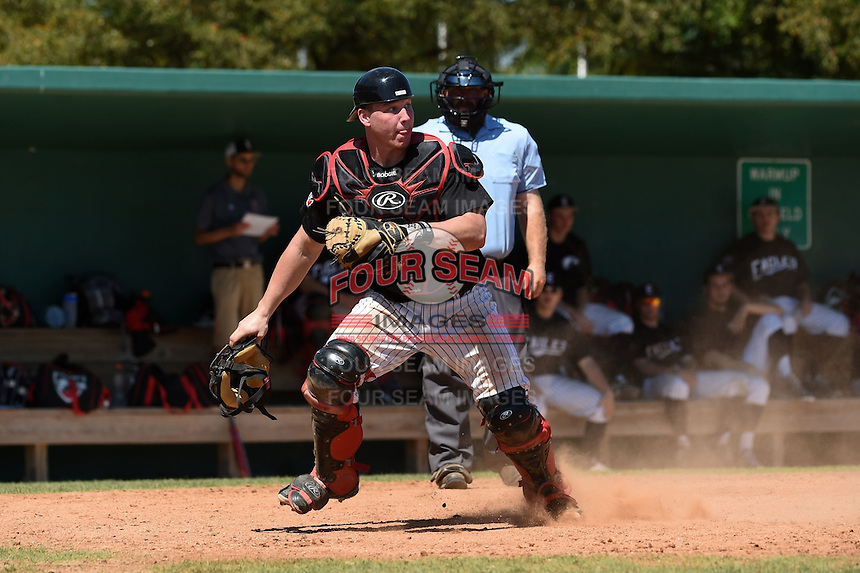 Edgewood Eagles catcher Garrett Bogucki (25) during the second game of a doubleheader against the Plymouth State Panthers on March 17, 2015 at Terry Park in Fort Myers, Florida.  Edgewood defeated Plymouth State 9-2.  (Mike Janes/Four Seam Images)