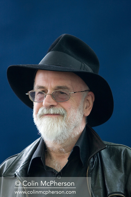 "English fantasy, science fiction and children's author Terry Pratchett pictured at the Edinburgh International Book Festival where he talked about his bestselling ""Discworld"" series of books. The three-week event is the world's biggest literary festival and is held during the annual Edinburgh Festival. 2008 was the Book Festival's 25th anniversary and featured talks and presentations by more than 500 authors from around the world."