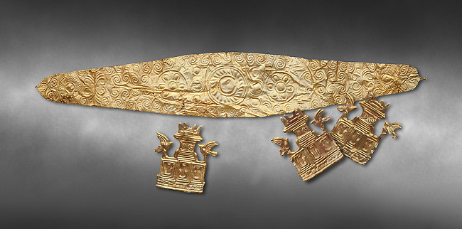 Mycenaean Gold diadems and cut outs from Grave IV, Grave Circle A, Myenae, Greece. National Archaeological Museum Athens. 16th Cent BC. Grey art Background <br /> <br /> Top: Mycenaean Gold diadem with repousse circles and rosettes Cat No 234<br /> <br /> Bottom . Gold cut outs depicting tripartite shrines crowned with horns of consecration and birds. Cat No 242-244